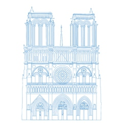 Notre Dame de Paris Cathedral France isolated of vector image