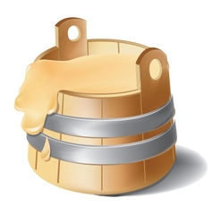 Wooden barrel of honey with metal silver clamps vector