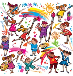 Happy children drawing with brush and colorful vector image