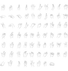 Set of sketch human hand gestures on white backgro vector