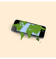 Mobile phone with stylized green world map vector