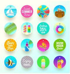 Set of summer vacation and travel labels and tags vector