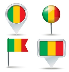 Map pins with flag of mali vector