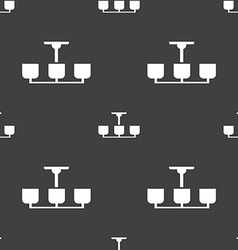 Chandelier light lamp icon sign seamless pattern vector