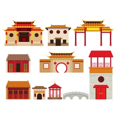 China building objects set vector