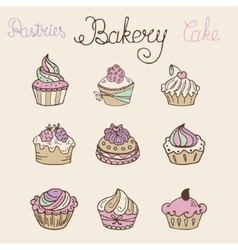Set of hand drawn color cakes vector