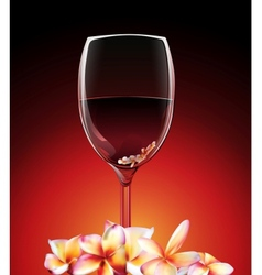 a glass of wine with flowers vector image