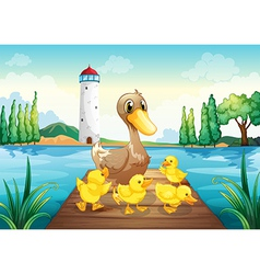 A mother duck with four baby ducks in the wooden vector image
