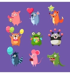 Animals At Birthday Party vector image