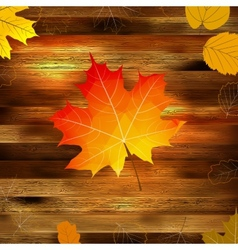 Autumn leaves on wooden background EPS10 vector image