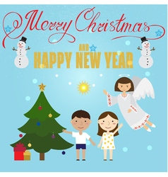 Christmas poster design with Angel childrensnowman vector image
