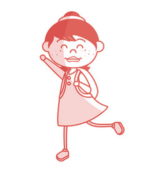 Cute little girl with school bag character vector
