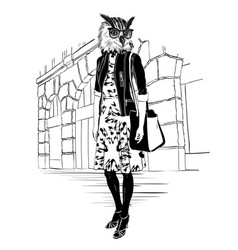 Fashion hipster owl on city background vector