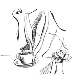 Fashion of girl with cup of tea vector