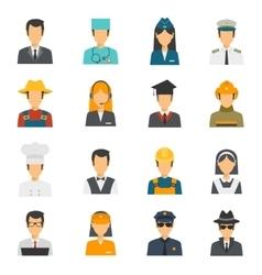 Flat avatar profession set vector