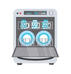 Flat freestanding dishwasher dishwashing machine vector