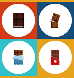 Flat icon sweet set of bitter chocolate dessert vector