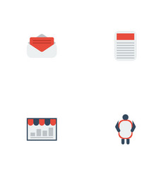 flat icons monitoring man with banner journal vector image vector image