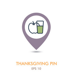 Glass of fresh apple juice mapping pin icon vector