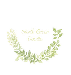 greenery doodle semicircle wreath vector image vector image
