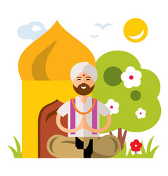 India yoga flat style colorful cartoon vector