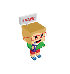 isometric block electric cigarette girl personal vector image