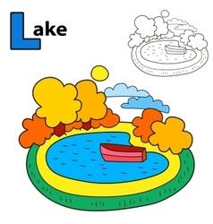 Lake coloring book page cartoon vector