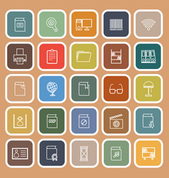 Library line flat icons on orange background vector