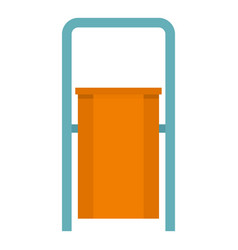 Orange public garbage bin icon isolated vector