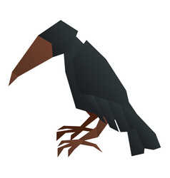 Origami crow icon cartoon style vector