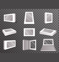 paper package boxes front top isometric open vector image vector image