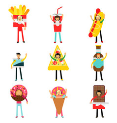 people wearing fast food snacks costumes set men vector image vector image