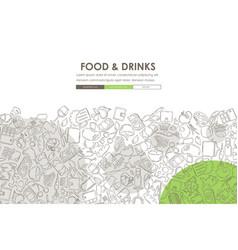 restaurant doodle website template design vector image vector image