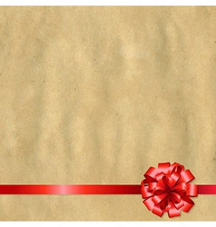 Retro Paper Banner With Red Bow vector image vector image