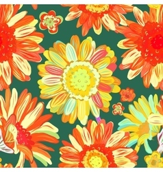 Seamless floral background isolated orange vector