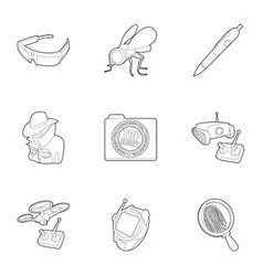 Secret agent equipment icons set outline style vector