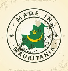 Stamp with map flag of mauritania vector