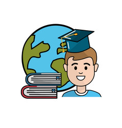 student with hat graduation global planet and vector image vector image
