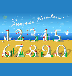 Summer numbers white houses on the beach vector