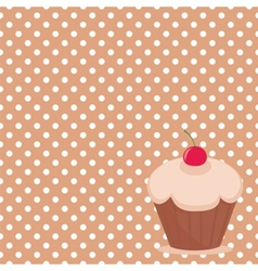 Sweet cake on polka dots background vector image vector image