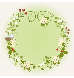 Wreath Frame Card Vintage Wooden sign Floral Bird vector image