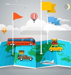 World map with different marks and transport vector image