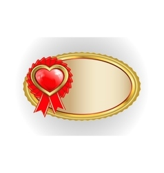 Oval gold frame with heart vector