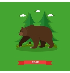 Zoo concept banner wildlife bear animal vector