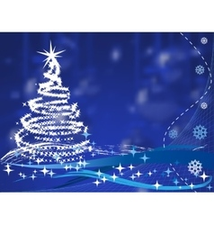 christmas tree on blue background with balls vector image