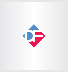 letter d and f df logo icon vector image
