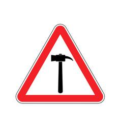 Hammer warning sign red repair hazard attention vector