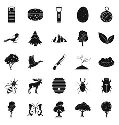 Wild nature icons set simple style vector