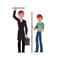 Two men male passengers in subway - businessman vector