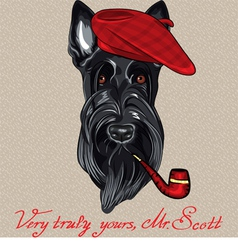Hipster dog scottish terrier vector